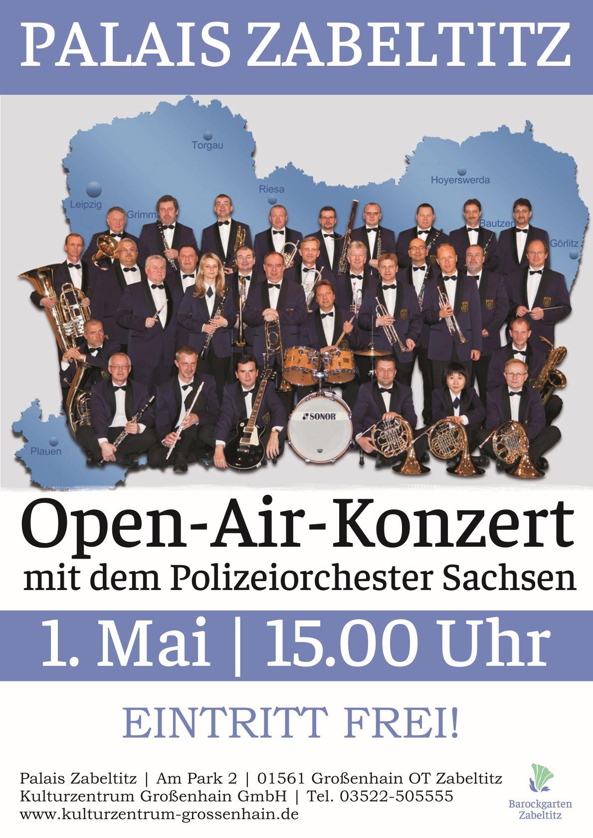 Open Air Konzert des Polizeiorchesters Sachsen am Palais Zabeltitz